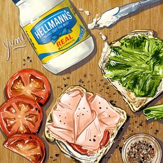 Hellmann's Mayonaise Food Illustrator Food Illustration Amber Day OllieHarperStudio.com