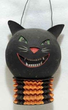 Vintage 1930's Halloween Accordian German Black Cat Lantern JOL | eBay
