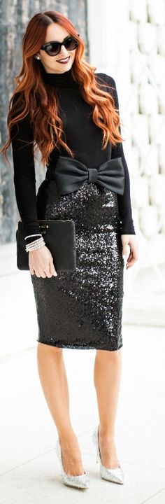 Black Sequin Pencil Midi Skirt
