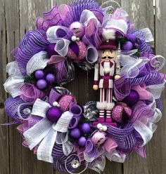 Purple Christmas Wreath Nutcracker Wreath by BaBamWreaths on Etsy
