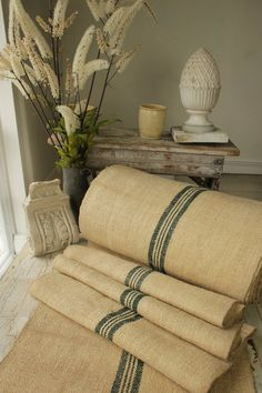 Stair runner heavy hemp Grain sack Fabric by the yard dark green Stripes twill weave Antique homespu Hallway Carpet, Carpet Stairs, Rustic Table Runners, Staircase Runner, Home Fix, Stair Rods, French Fabric, Grain Sack, Small Rugs