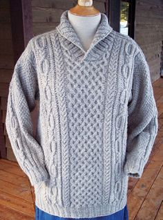 Knit from the top down, this fun Aran pattern features interesting cable patterns and a cozy shawl collar for warmth. Aran Knitting Patterns, Cable Knitting, Knitting Designs, Mens Knit Sweater, Shawl, Knitwear, Knit Crochet, Big Sky, Renewable Energy