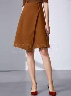 Vintage Asymmetric Buttoned A-line Skirt - Fashion Clothing 2019 A Line Skirts, Mini Skirts, Mode Hijab, Mode Online, Vintage Skirt, Ladies Dress Design, Skirt Outfits, Fashion Outfits, Womens Fashion