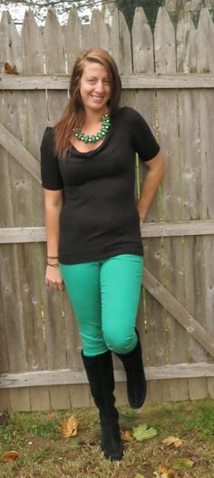 Ask Away...: Outfit of the Day: Green and Black