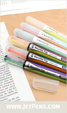 The popular two-in-one Kokuyo Beetle Tip Dual Color Highlighter is now available in soft pastel hues that are easy on the eyes.