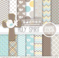Digital Paper Clip art Baptism Holy Spirit Angels Boys Boy Stars Holy Spirit for scrapbooking Invitations Labels Crosses