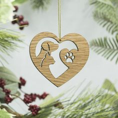 Items similar to Pet Heart Christmas Wood Ornament - Dog & Cat Silhouette Ornament - Dog Heart - Cat Heart - Paw Print Laser Cut Wood Ornament - Best Friends on Etsy Christmas Wood Crafts, Wooden Christmas Ornaments, Christmas Signs Wood, Dog Ornaments, Christmas Animals, Holiday Crafts, Wood Craft Patterns, Globe Ornament, Scroll Saw Patterns
