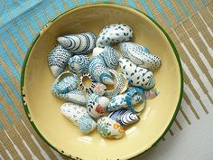 Painted and Liberty covered shells by Jill Wignall