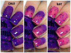 "NEW--""Grape Intentions"" -Color Changing Thermal Nail Polish: Custom-Blended Indie Glitter Nail Polish / Lacquer Diy Nails, Cute Nails, Pretty Nails, Funky Nails, Color Change Nail Polish, Nail Colors, Thermal Nail Polish, Color Changing Nails, Nails For Kids"