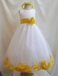 Flower Girl Dresses  IVORY with Yellow Rose by NollaCollection, $35.99