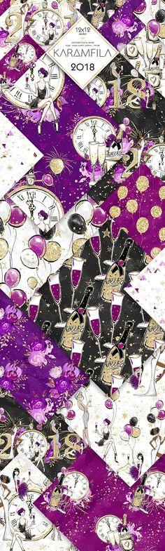 New Year's Party Digital Paper by Karamfila on @creativemarket