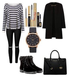 """After-Funeral Black"" by im-just-yusra on Polyvore featuring MICHAEL Michael Kors, Burberry, Aquazzura, Yves Saint Laurent and Marc by Marc Jacobs"