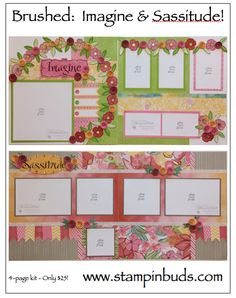This is my CTMH Brushed Scrapbooking Kit I created in 2015. Instructions are also available on my blog. #Scrapbooking #CTMH #Flowers www.stampinbuds.com