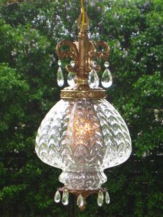 Vintage Clear Draped Optic Glass Hanging Swag Lamp w/ Tear Drop Prisms
