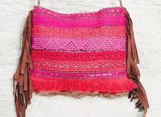 Medium Red and fuchsia lace trimming cross body bag by 121aliter, $85.00
