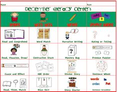 December Literacy Centers for First AND Second Grade (FREEBIE too) Reading Stations, Reading Centers, Literacy Centers, Second Grade Freebies, Christmas Language Arts, Reading Words, Sentence Writing, Classroom Language, School Fun