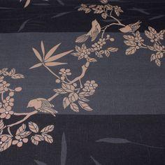 Tissu+Ameublement+japonais,+oiseaux+et+fleurs+de+cerisier,+tons+noirs+&+bronze