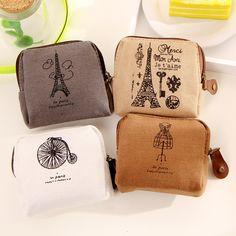 Coin purses,Restoring ancient ways Paris memory canvas coin purses zero wallet child women change purse,lady zero wallets bag
