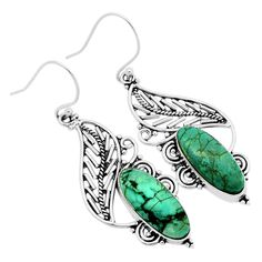 Lucky Charm - Tibetan Turquoise 925 Sterling Silver Earrings Jewelry 6689E