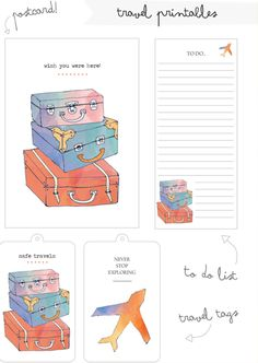 Love the luggage tags. Could you print those Katie? Travelers Notebook, Printable Planner, Free Printables, Travel Sticker, Travel Tags, Free Travel, Travel Album, Journaling, Free Notebook
