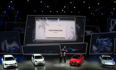 The Volkswagen Group electric cars are on display during a preview by the Volkswagen Group prior to the 65th Frankfurt Auto Show