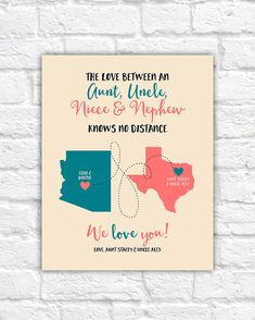 Aunt, Uncle, Niece, Nephew Gifts, Custom Maps, Long Distance Family, Christmas Gifts for Aunt and Uncle, Living Far, Birthday | WF267
