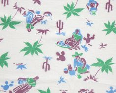 """18"""" x 36""""  Vintage Partial Feedsack Mexican Desert Purple, Blue, Green Cotton Quilt Fabric Feed Sack"""