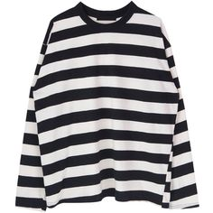 Horizontal Striped Extended Sleeve Top (165 RON) ❤ liked on Polyvore featuring tops, sweaters, shirts, clothing - ls tops, patterned tops, cut loose shirt, horizontal striped shirt, sleeve shirt and round neck shirt