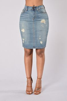 Over The Top Skirt - Medium Wash