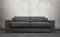Ultra Comfortable Linen Fabric Wide Track Arm Large Capri Style Sofa, Dark Grey