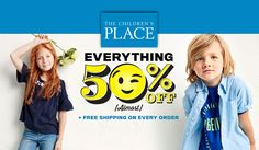 Online Only! Everything 50% #Off.  Store : #TheChildrensPlace Scope: Entire Store  Ends On : 01/21/2017    Get more deals: http://www.geoqpons.com/The-Childrens-Place-coupon-codes  Get our Android mobile App: https://play.google.com/store/apps/details?id=com.mm.views    Get our iOS mobile App: https://itunes.apple.com/us/app/geoqpons-local-coupons-discounts/id397729759?mt=8