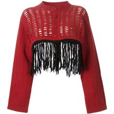 Jean Paul Gaultier Vintage Fringed Cropped Cardigan (6.993.765 IDR) ❤ liked on Polyvore featuring tops, cardigans, sweaters, fringe cardigan, cut out crop top, vintage tops, red crop top and long sleeve crop top