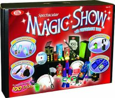 Spectacular Magic Show with Performance Table by Cadaco. $38.80. Filled with over (100) of the greatest magic tricks and props; Includes a special magician's magic deck of cards to perform mind-blowing card tricks; Perform magic in no time with step-by-step instructional magic trick DVD starring magician Ryan Oakes; Recommended for children 8-years of age and older; Suitcase doubles as a performance table measuring 10-inches high and 19.5-inches wide. From the Manufactur...