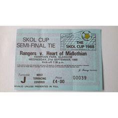 Rangers v Heart of Midlothian Football Ticket Stub 21/9/1988 Semi Final Skol Cup Listing in the Scottish Club Leagues & Cups,Ticket Stubs,Football (Soccer),Memorabilia & Fan Store,Sport Memorabilia & Cards Category on eBid United Kingdom
