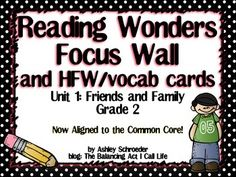 Reading Wonders Focus Wall & word cards for Grade 2 Unit 1