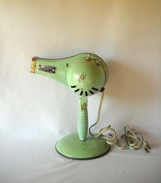 Vintage Blow Dryer Industrial Design Beauty Shop Retro Decor Jadeite Green 1950s Decor Display Metal Dryer