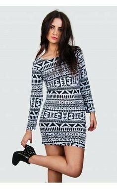 73a610e7f4 WHITE   BLACK AZTEC PRINT BODYCON LONG SLEEVE TUNIC MINI DRESS Size M L BNWT