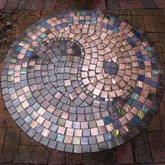 """Marla Powers, Garden PiecesYin and Yang, 20"""" diameter 23h Garden table top"""