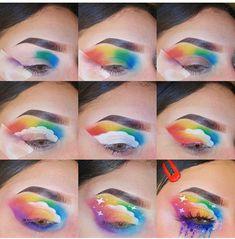 eyeshadow rainbow / eyeshadow rainbow & eyeshadow rainbow looks & eyeshadow rainbow tutorial Face Paint Makeup, Eye Makeup Art, Makeup Inspo, Eyeshadow Makeup, Makeup Eye Looks, Makeup Inspiration, Crazy Eye Makeup, Fairy Makeup, Mermaid Makeup