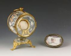 MINIATURE PORTRAIT AND VICTORIAN WATCH HOLDER  Estate of Mary L. Alchian of Palm Springs, CA | Kaminski Auctions 1/18/15