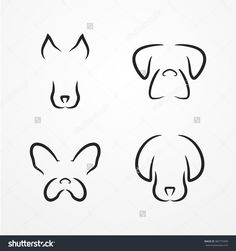 Abstract dog logotype collection, cute dog heads in silhouette line style without eyes, dog stock vector illustration