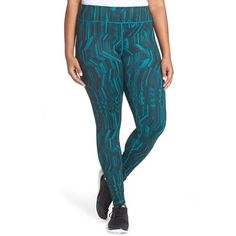 Zella 'Live In' Slim Fit Reversible Leggings ($31) ❤ liked on Polyvore featuring plus size women's fashion, plus size clothing, plus size pants, plus size leggings, plus size, teal everglade geo woodsy, geometric print leggings, teal pants, women's plus size pants and blue pants