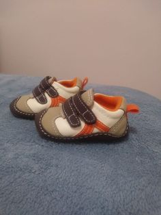 220ffdb89285 carters nb boy infant crib shoes brown orange and beige  fashion  clothing   shoes