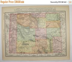 1901 Antique Map Of Wyoming Utah Map Western Us State Map Wedding Decor Prop Wall Map Gift For New Home Vintage Color Map