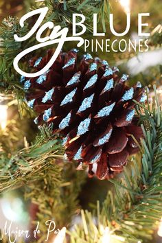 how to make blue glitter pinecones