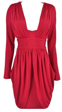 'Raquel' Red Drape Long Sleeve Silk Feel Dress