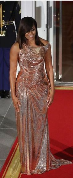 #FirstLady Of The #United #States #Michelle #Obama #Last #StateDinner in #Versace