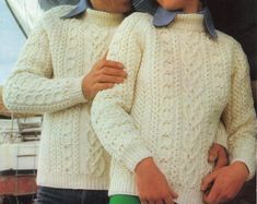 "womens mens aran sweater knitting pattern pdf ladies cable jumper crew neck vintage 1970s 34-44"" aran worsted 10ply pdf instant download"
