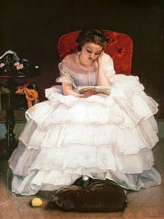 "Victorian woman in ruffled white dress neglects her needlework to read. ""Girl Reading"" by Alfred Emile Leopold Stevens"