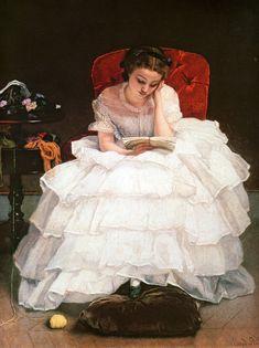 Girl Reading by Alfred Emile Leopold Stevens